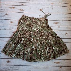 Banana Republic Green and Brown Paisley Skirt